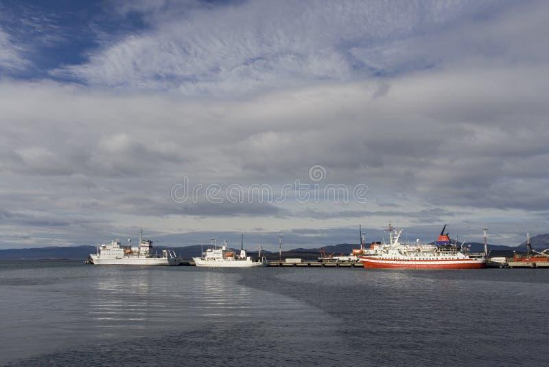 Harbour Ushuaia Argentina, haven Ushuaia Argentinië. Harbour Ushuaia Argentina; haven Ushuaia Argentini stock image