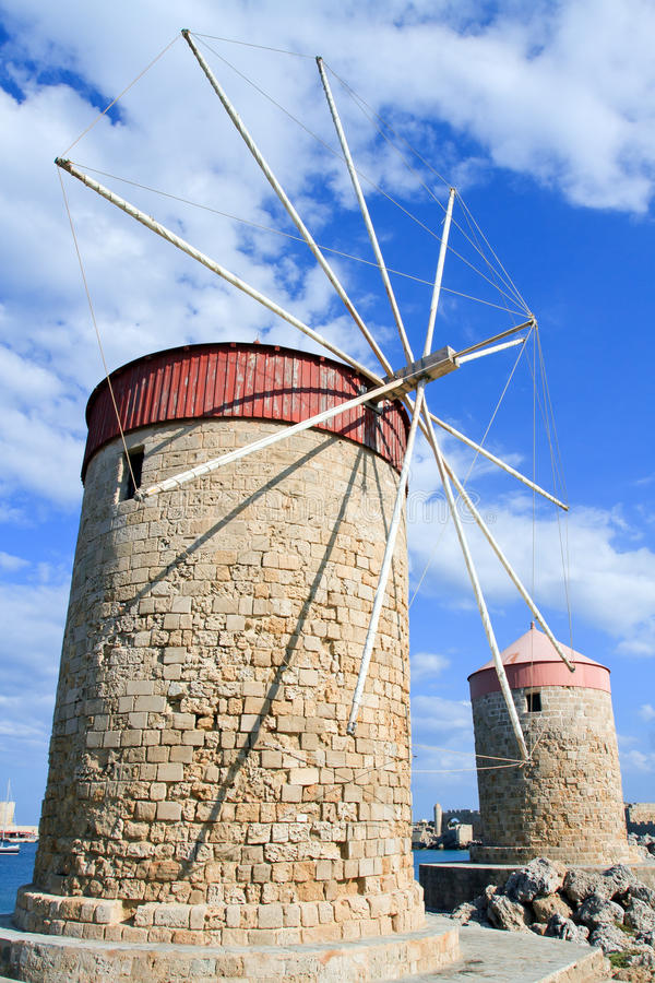 Harbour windmill. Mandraki Harbour windmill on the Island of Rhodes Greece royalty free stock photo