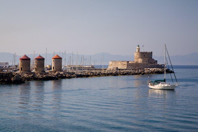 Download Harbour Windmills & Lighthouse St.Nicholas, Rhodes Stock Photo - Image: 16458372