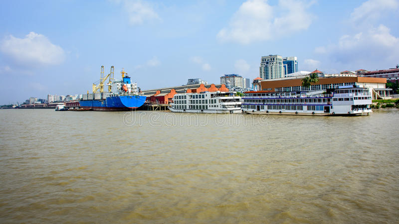 Landscape view of harbour of Yangon, Myanmar, May-2017 stock photo