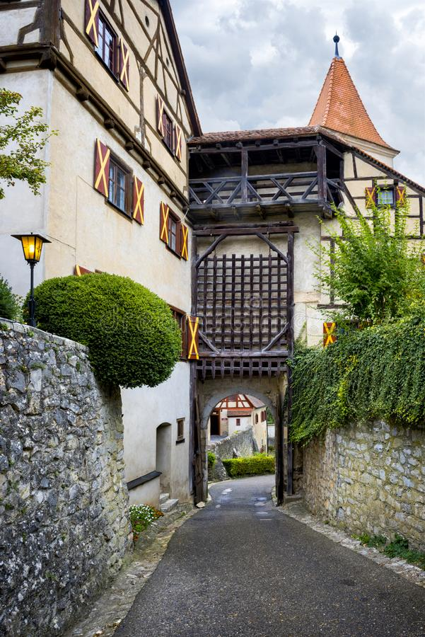 Harburg - Part of the interior of the Harburg Castle in Bavaria, It is a part of the scenic route called `Romantic Road`. Germany stock photography