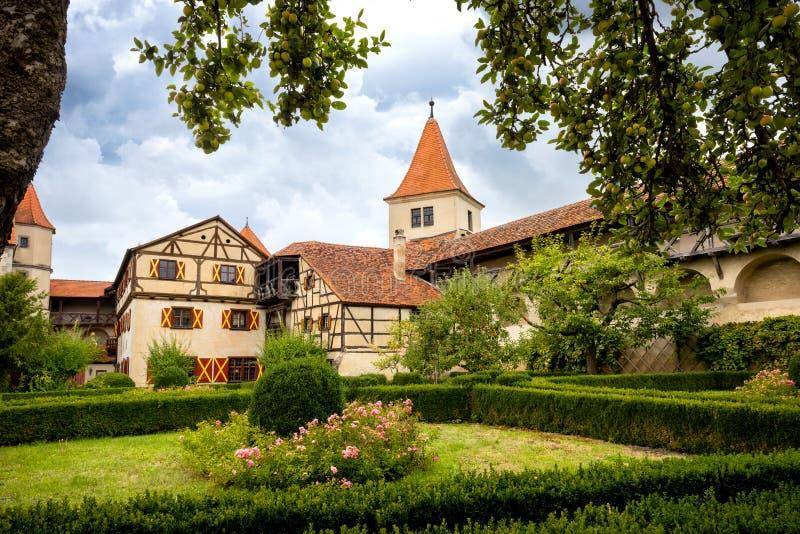 Harburg - parte del interior del castillo de Harburg en Baviera, es una pieza de la ruta escénica llamada el 'camino romántico '  foto de archivo