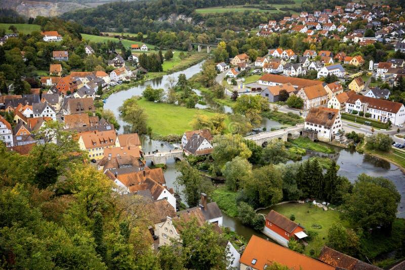 Harburg: Vista do castelo de Harburg É uma peça da rota cênico chamada 'estrada romântica ' Baviera, Alemanha foto de stock royalty free