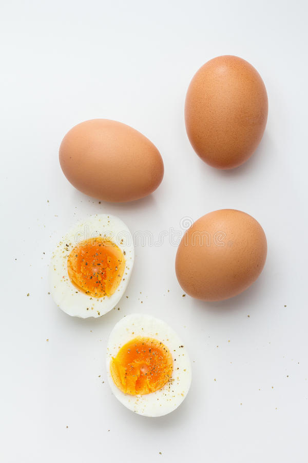 Hard Boiled Eggs. Hard boiled egg halves with whole eggs royalty free stock image