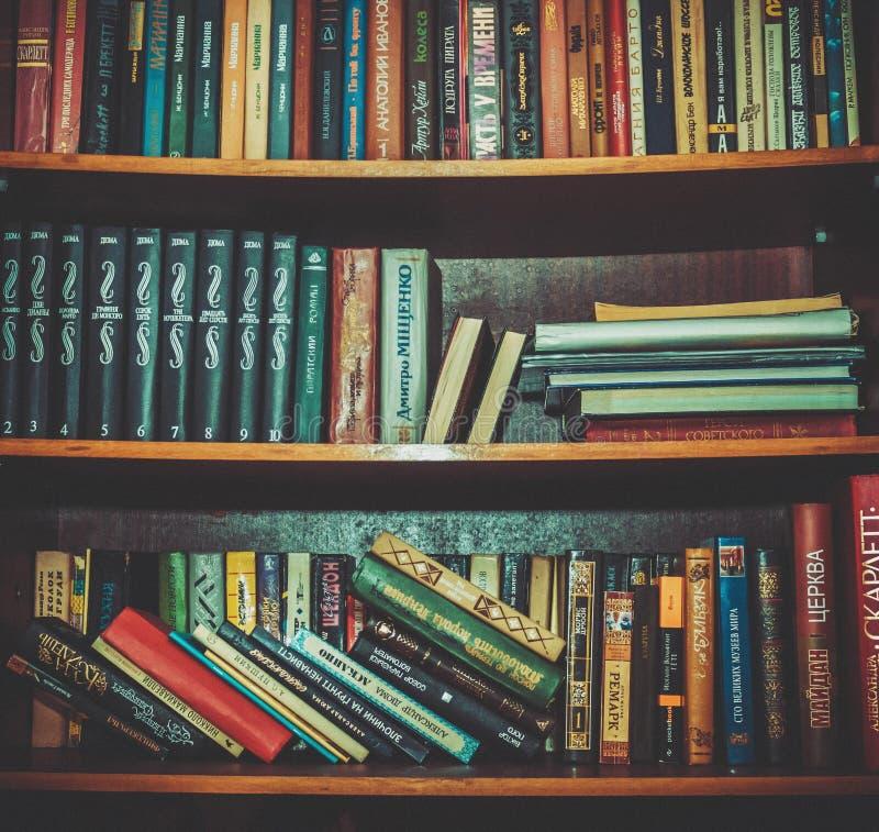 Hard Bound Books On Brown Wooden Shelf Free Public Domain Cc0 Image