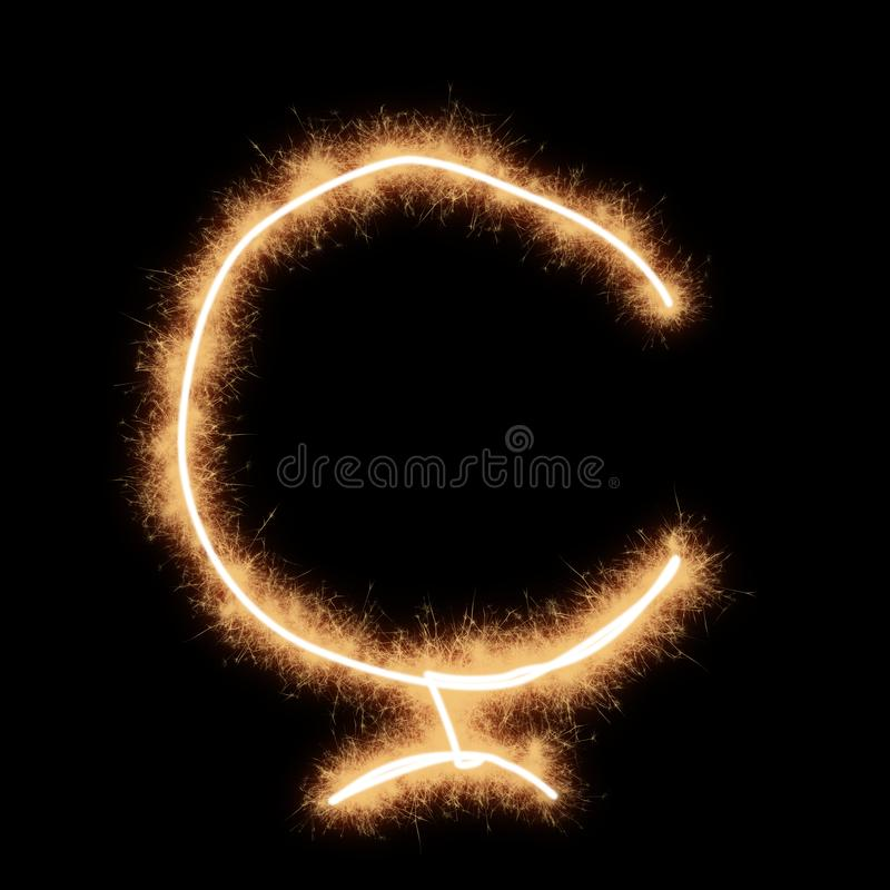 Hard C Letter of Turkish alphabet on a black background. Hard C Letter of Turkish of alphabet written by squib sparks on a black background vector illustration