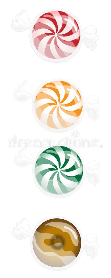Hard Candy. Four variations of hard candy drawn using Illustrator CS2