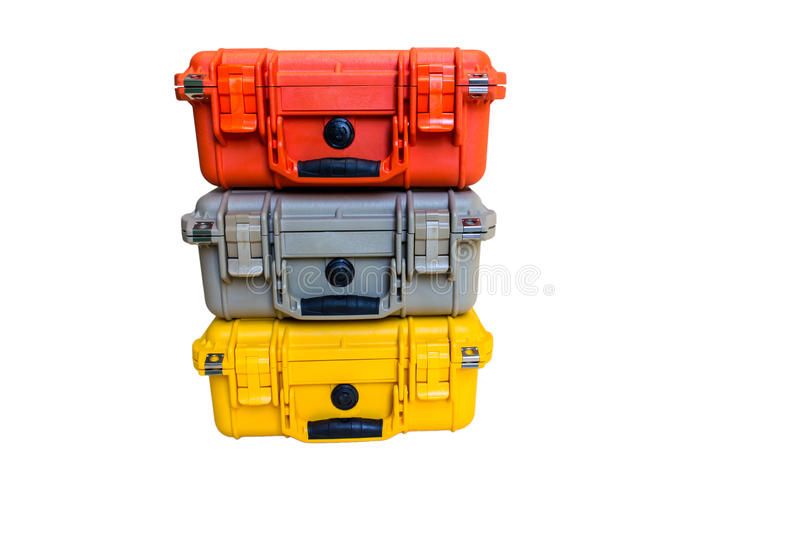 Hard Case Plastic Protect Water Resistant Equipment. On white royalty free stock image