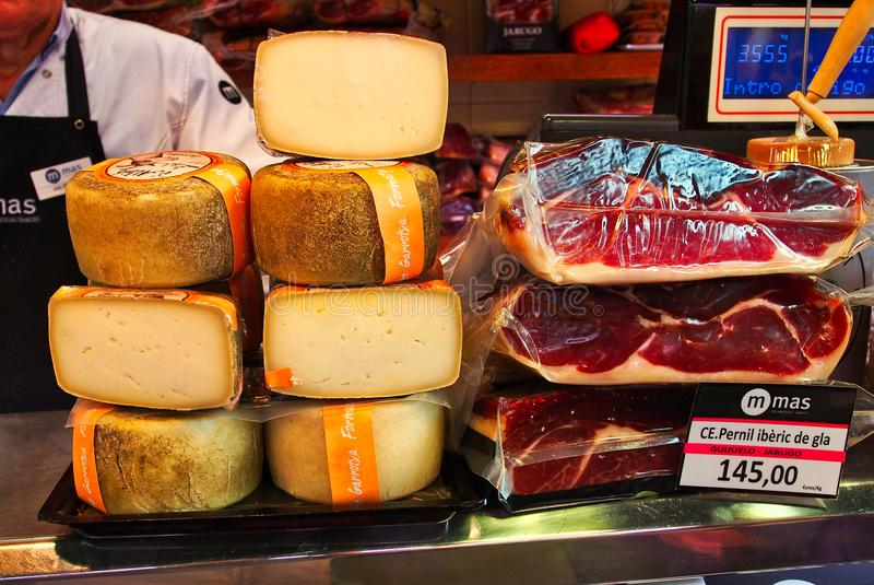 Hard Cheese and Cured Ham, St Joseph Market, Barcelona, Spain royalty free stock photos