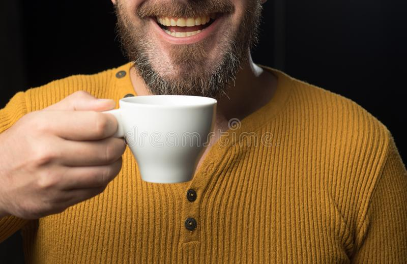 Hard Coffee addict. My smile is not perfect. Dental care concept. Healthy white smile. Laser teeth whitening. royalty free stock photography
