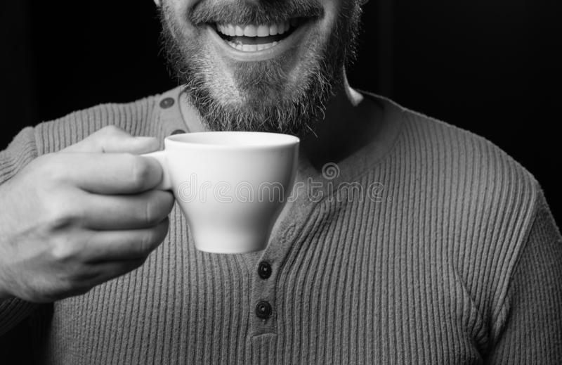 Hard Coffee addict. My smile is not perfect. Dental care concept. Healthy white smile. Laser teeth whitening. stock photography