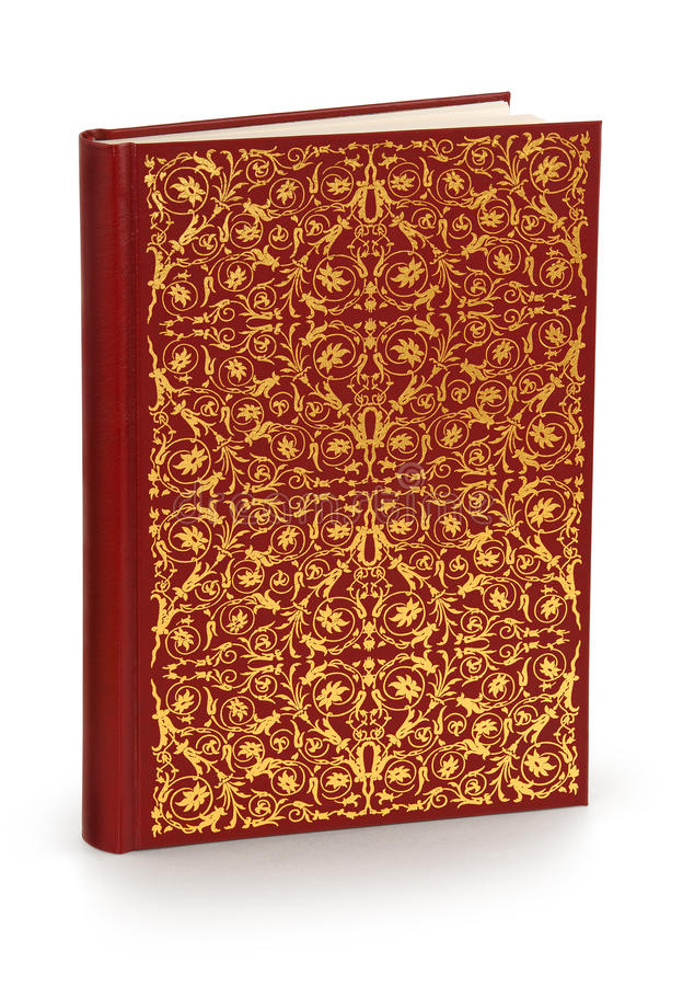 Hard cover book with ornament - clipping path stock image