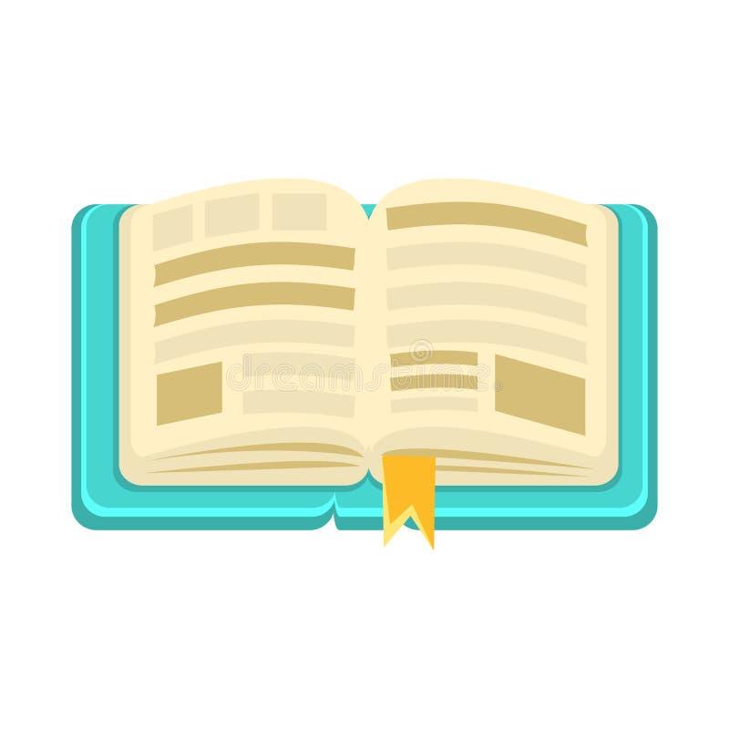 Hard Dekkings Open Boek met Referentie, Voorwerp van Babyzaal, Gelukkige Kinderjaren Leuke Illustratie royalty-vrije illustratie