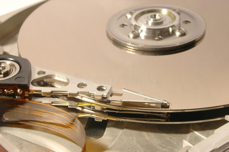 Hard disc. Focus on heads stock photography