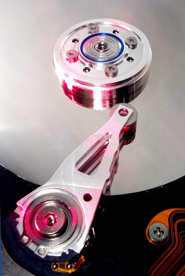 Hard disc. Opened hard disc stock images
