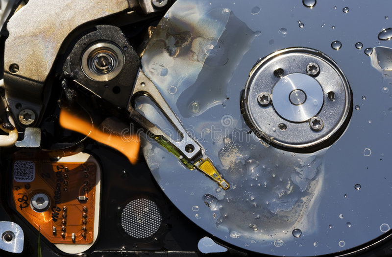 Hard disk. A hard disk on fire stock photos