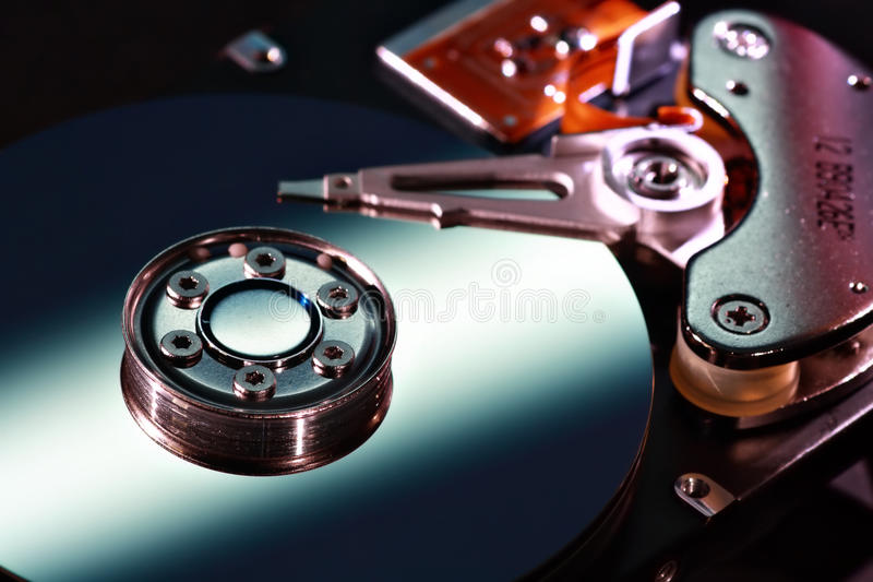 Hard disk closeup stock photography