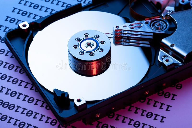 Hard Disk Drive with Binary Code Page royalty free stock photo
