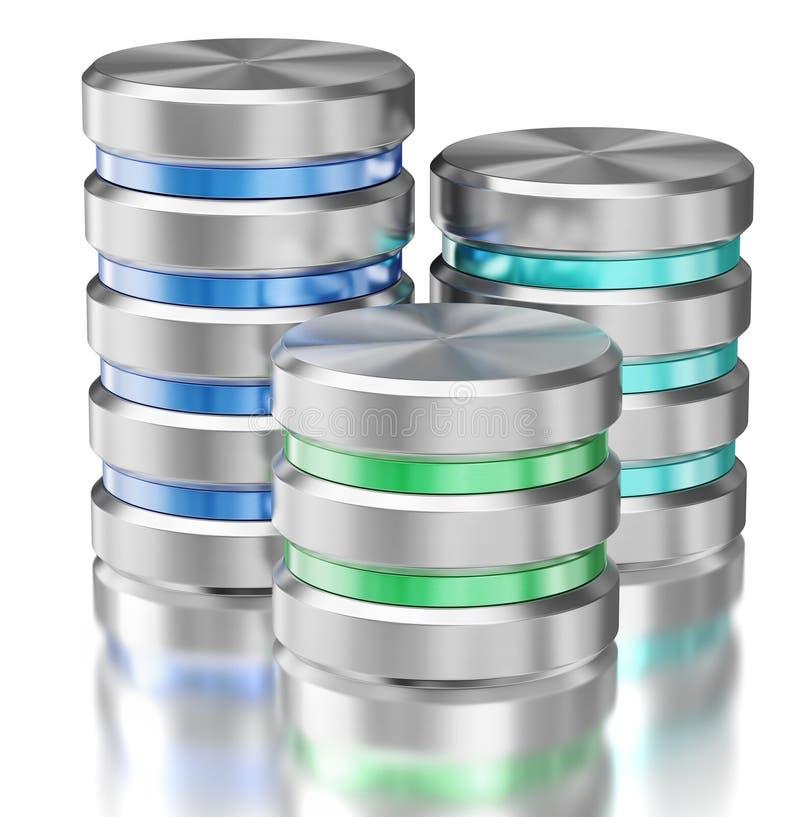 Data Storage System : Hard disk drive data storage database icon symbols stock