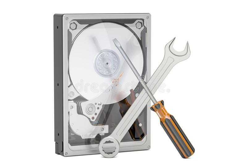 Hard Disk Drive HDD with tools. Repair and recovery concept, 3D stock illustration