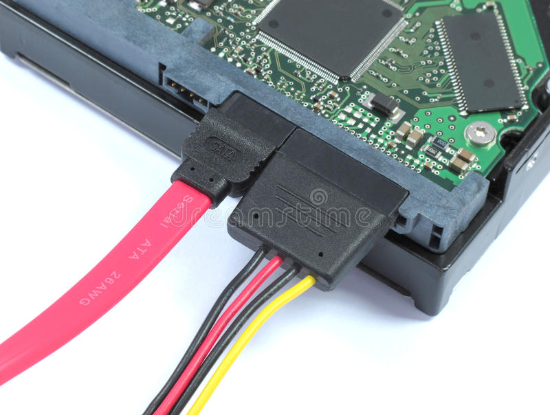 Hard Disk Drive with SATA & Power Pluged royalty free stock photos
