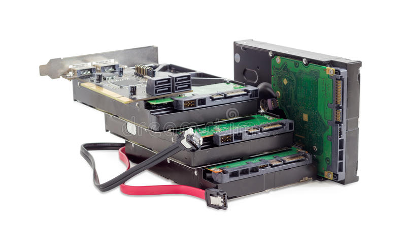 Hard disk drives, disk controller card and cables royalty free stock photography
