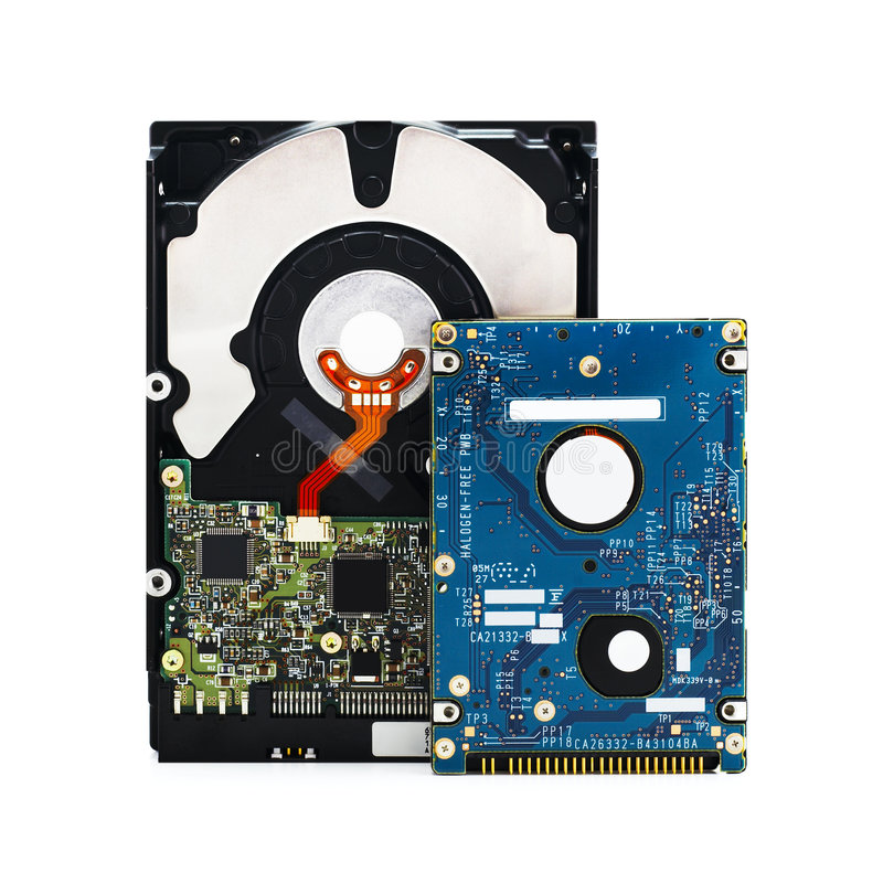 Hard Disk Drives on White. 3,5 and 2,5 hard disk drives on a white background with clipping path for designers stock photography