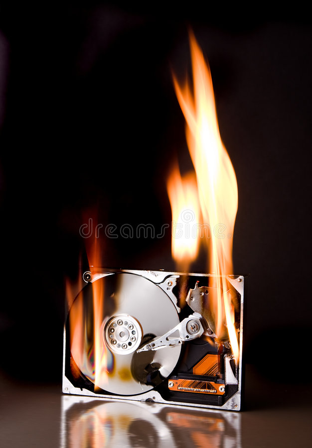 Free Hard Disk On Fire Stock Photography - 6046292