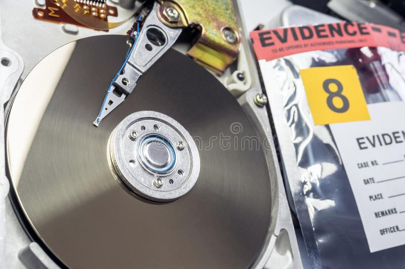 Hard disk opened in criminological laboratory stock images