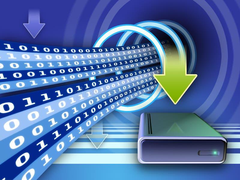 Hard disk writing. Writing data on an external hard disk. Digital illustration stock illustration