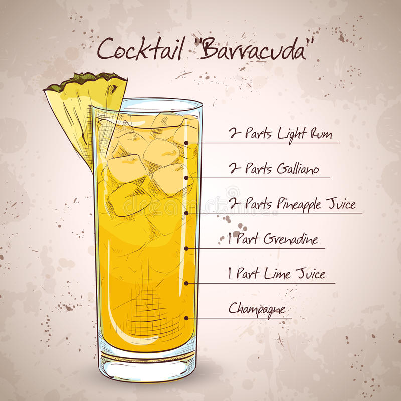 Hard drink Cocktail Barracuda. With gold rum, Galliano, pineapple juice, lemon and dry wine stock illustration