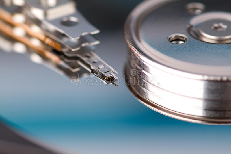 Hard drive. Closeup of the details inside a harddrive stock photography