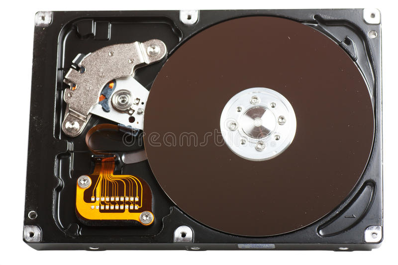 Hard drive. Computer component hard drive isolated over white royalty free stock image
