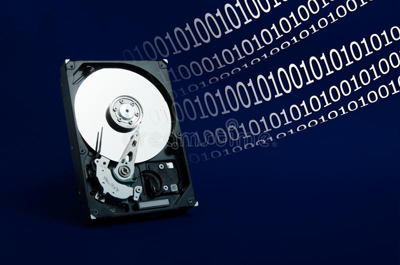 Hard Drive On A Blue Background Stock Photos
