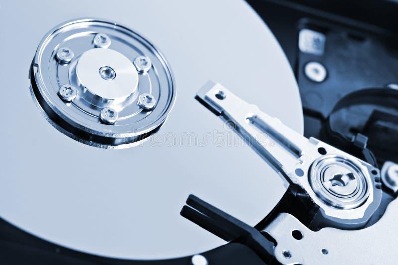 Hard drive detail. Closeup of hard disk drive internal components royalty free stock photos