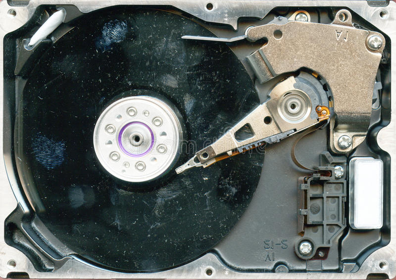 Hard drive detail. Detail of hard drive as technological background stock photo
