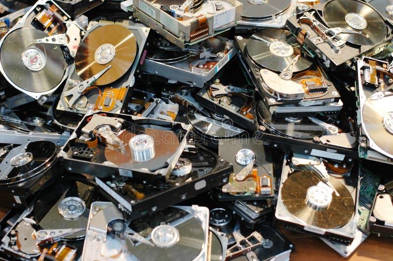 Hard Drives. A pile of broken hard drives royalty free stock image