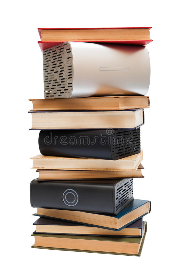 Hard drives and books stock images