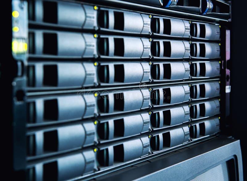 Hard drives. In data center stock image