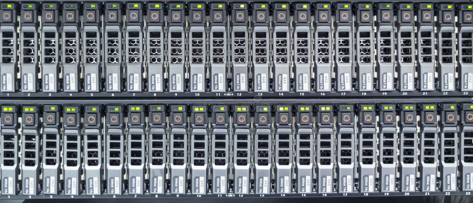 Hard drives. In data center royalty free stock photo