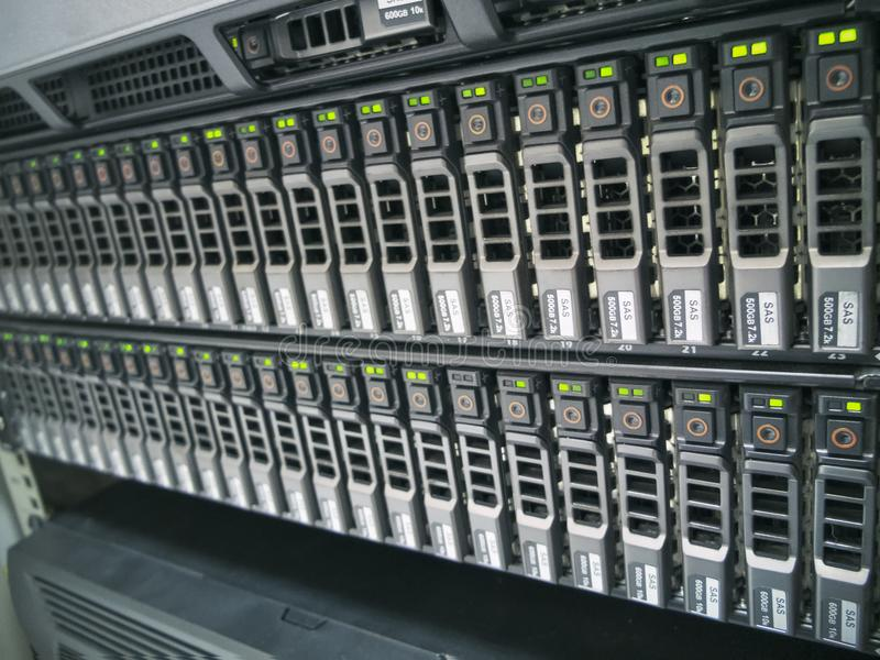 The Hard drives. In data center of the organization stock image