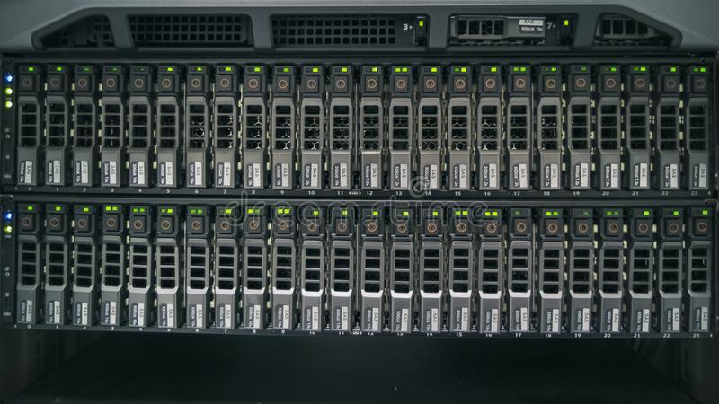 The Hard drives. In data center of the organization royalty free stock image