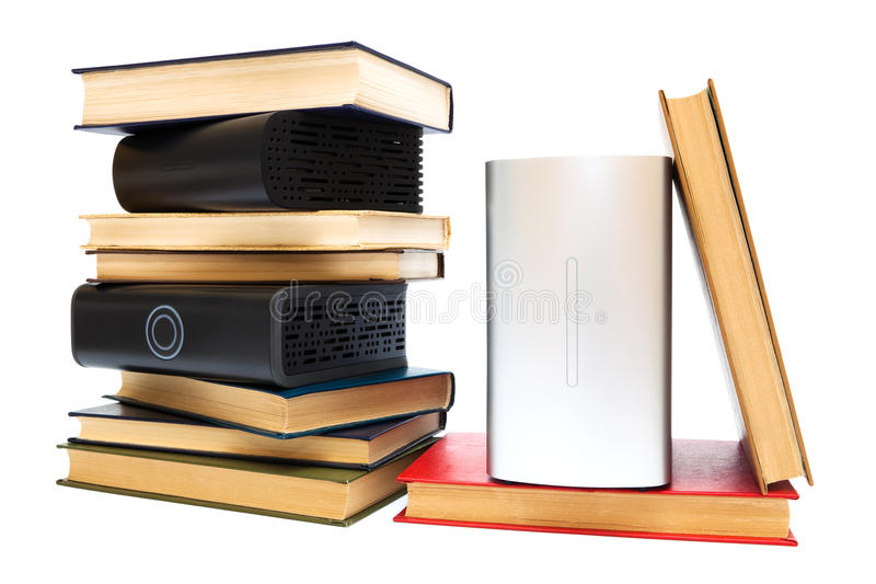 Hard drives and old books royalty free stock photo