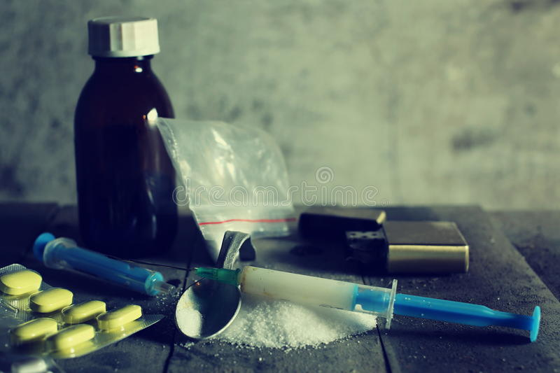 Download Hard drugs on dark table stock image. Image of forbidden - 83706787