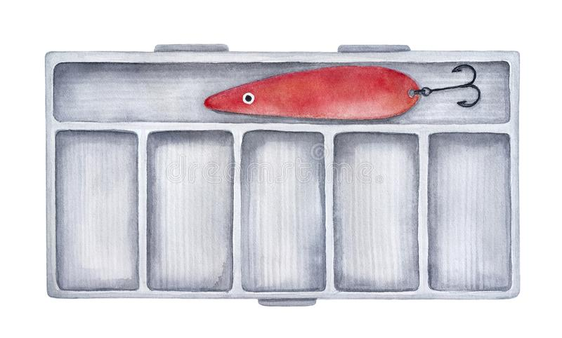 Hard fishing tackle box for fishing equipment and supplies. stock illustration