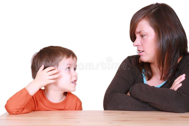 Hard gesprek stock foto's