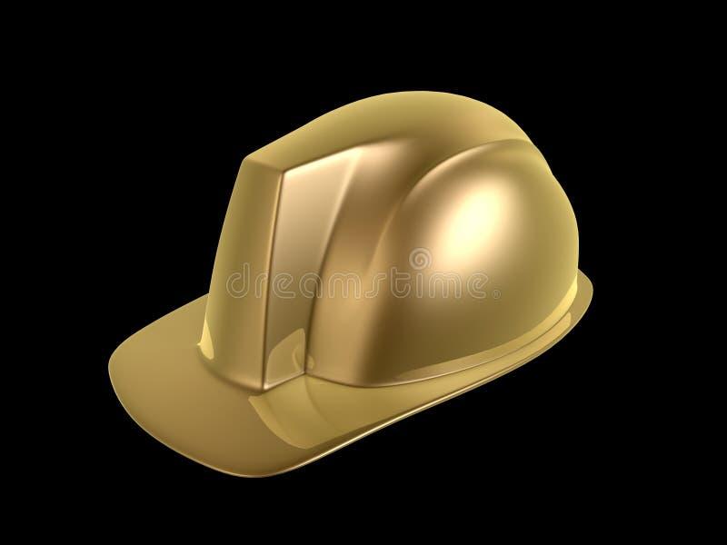 Hard hat. Golden hard hat of engineer isolated on dark background