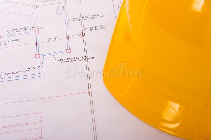 Download Hard Hat and Blueprints stock photo. Image of design - 10936296