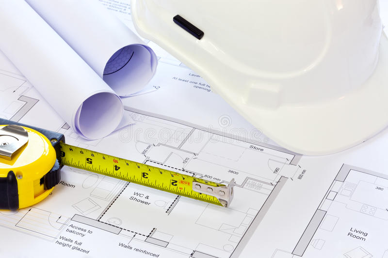 Hard Hat And Building Plans Stock Image