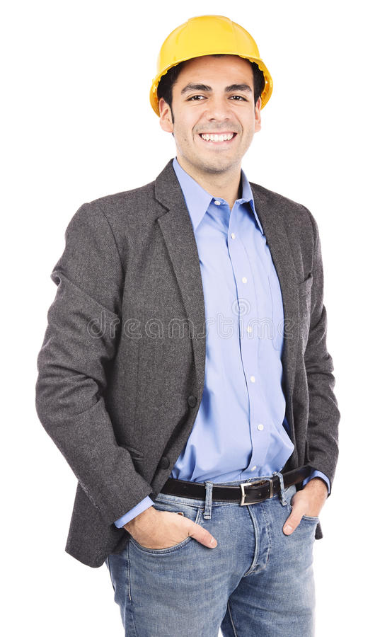 Hard hat man portrait stock photography